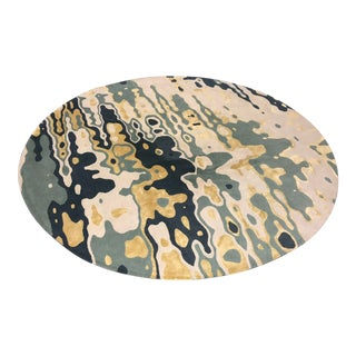 Delinear Tranquil Custom Round Wool + Silk Rug For Sale
