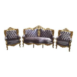 Gray Tufted Velvet Chairs & Sofa - Set of 3