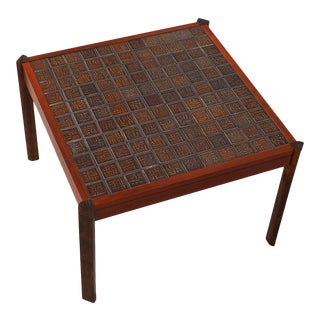 Danish Modern Accent Table with Tile Top For Sale