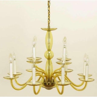1940s Twelve-Arm Murano Deep Champagne Glass Chandelier Preview