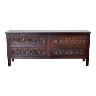 Indian Wooden 4-Drawer Hand-Carved Dresser For Sale