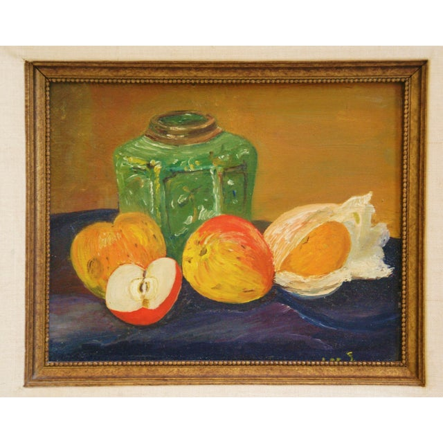Abstract 1960s Fruit Tablescape Still Life Oil Painting For Sale - Image 3 of 6
