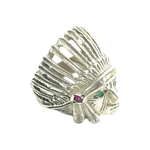 Mid 20th Century Sterling Silver Indian Chief Head Ring For Sale - Image 5 of 6