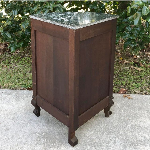 Green Antique French Louis XV Marble Top Corner Cabinet ~ Confiturier For Sale - Image 8 of 11