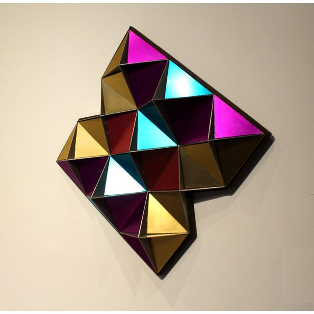 Abstract 1970's Anodized Aluminum Three Dimensional Geometric Wall Art For Sale - Image 3 of 9