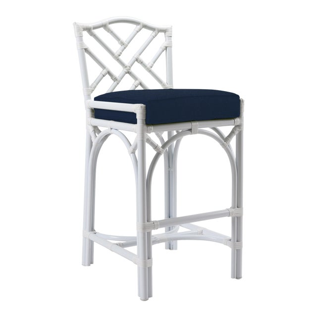 Chippendale Outdoor Barstool - White For Sale