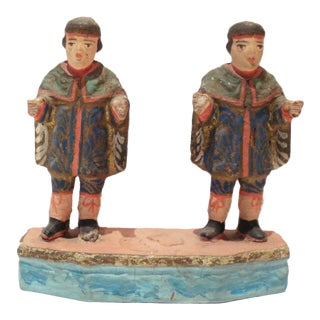 19th C Primitive Hand Carved Wood Sculptures St Cosmas & Damien For Sale