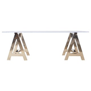 Modern Lucite Desk Dining Table With Chrome Sawhorse Bases For Sale