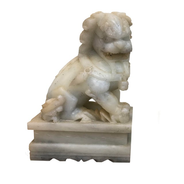 Chinese Late 19th Century Chinese Export Marble Foo Lions - a Pair For Sale - Image 3 of 5