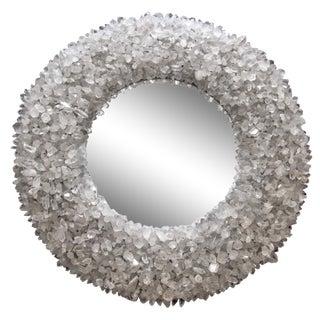 "Quartz Crystal Encrusted Circular Mirror by Marjorie Skouras, White, 42"""
