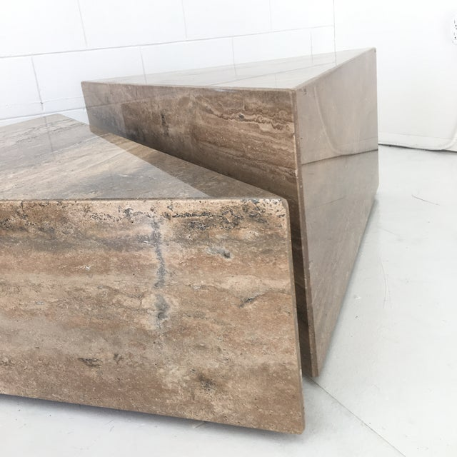 Brown Italian Two Triangular Offset Stone Coffee Table - 2 Pieces For Sale - Image 8 of 13