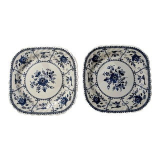 Blue & White Floral Johnson Brother's Indies Plates - A Pair
