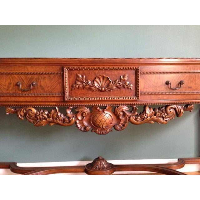 Queen Anne Style Walnut Veneered Console Table - Image 5 of 6