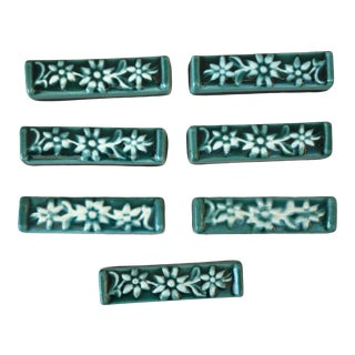 Set of 7 Green Majolica Edelweiss Knife Rests Vallauris, Circa 1950 For Sale