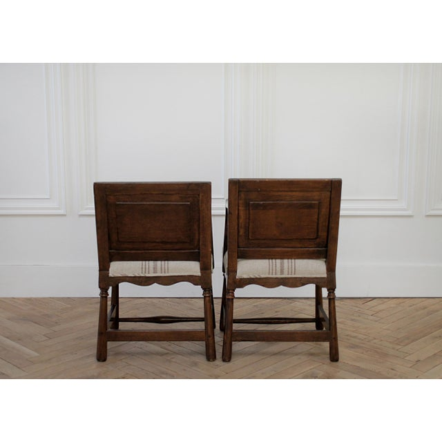 Pair of Fruitwood Carved and Upholstered Arm Chairs For Sale In Los Angeles - Image 6 of 13