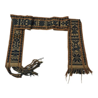 Antique Tribal Yellow and Blue Woven Turkish Sash For Sale