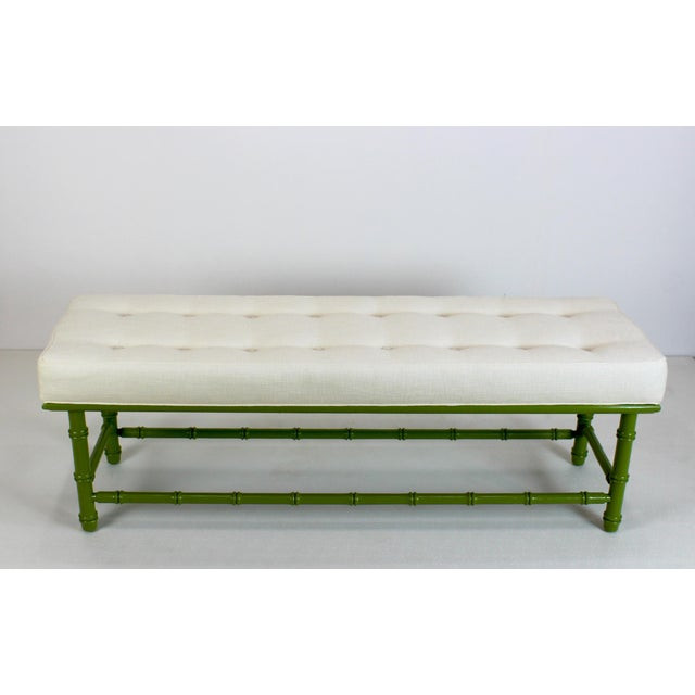 Mid Century Faux Bamboo Green Bench For Sale - Image 10 of 11