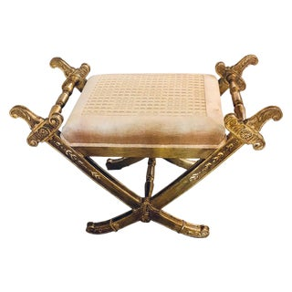 "19th Century Gilt Wood Cross Sword ""X"" Form Bench or Footstool For Sale"