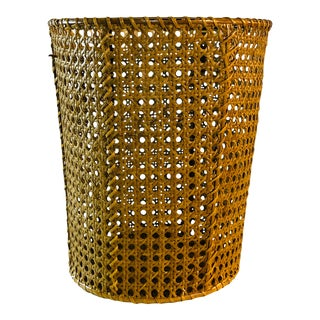 1970s Round Caned Wastebasket For Sale