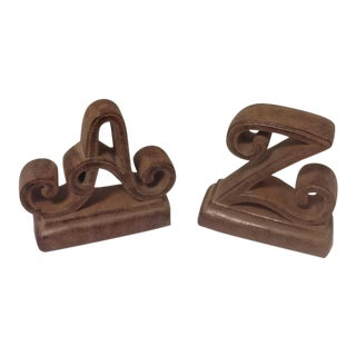 Vintage Leather Look A-Z Bookends - a Pair For Sale