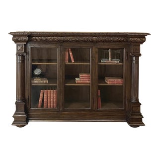 19th Century Italian Renaissance Walnut Barrister's Bookcase For Sale