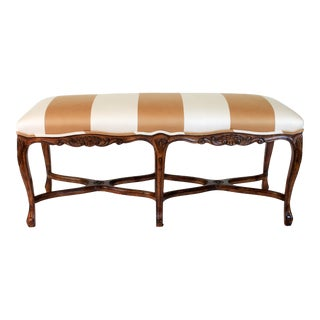 French Upholstered Walnut Bench For Sale