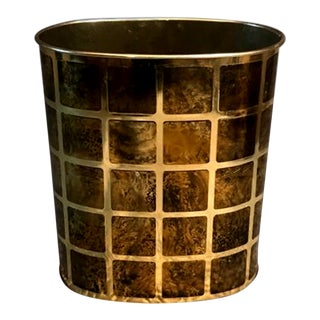 Vintage Brass & Faux Burl Metal Wastebasket For Sale