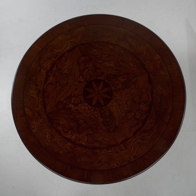 Wood Italian Center Table Pedestal Base Inlaid Mahogany Burl Gilt Italy 1970s For Sale - Image 7 of 13