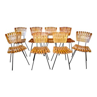 1960s Mid-Century Modern Arthur Umanoff Wood Slat and Iron Dining Chairs - Set of 8 For Sale