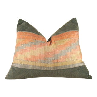 Geometric Raw Silk Ikat and Corduroy Lumbar Pillow Cover For Sale