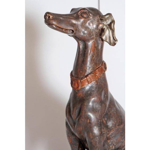 Brown 19th Century Italian Carved Wood Seated Greyhound Sculpture For Sale - Image 8 of 13