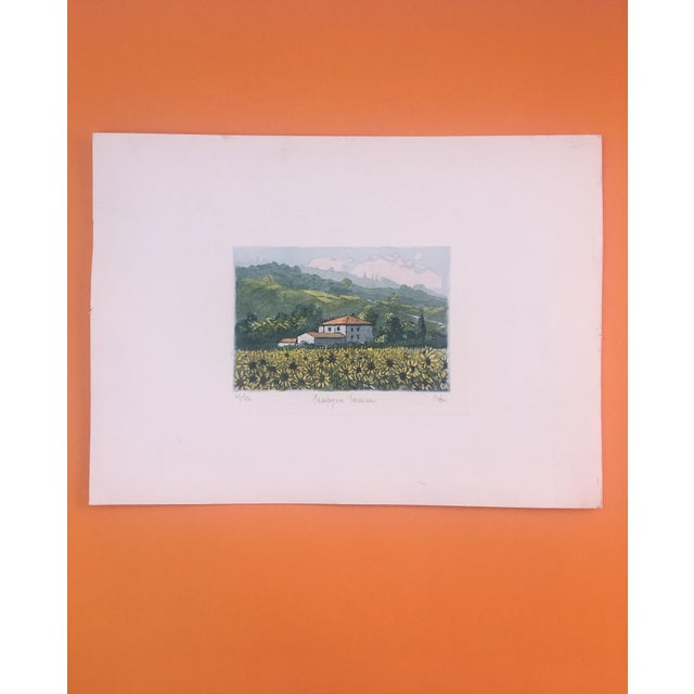 Beautiful Vintage Italian water color print representing Tuscany country side. Perfect condition. Unframed. Numbered...