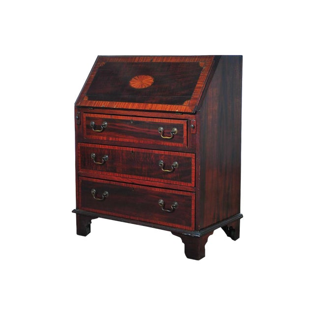 19th C. English Inlaid Mahogany Drop Desk For Sale
