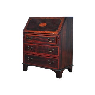 19th C. English Inlaid Mahogany Drop Front Desk For Sale