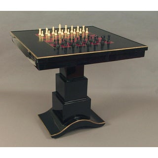 1970s Art Deco-Styled Black Lacquered Chess Table Preview