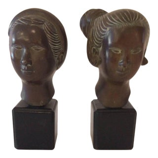 Asian Polynesian Style Bronze Male & Female Busts - A Pair