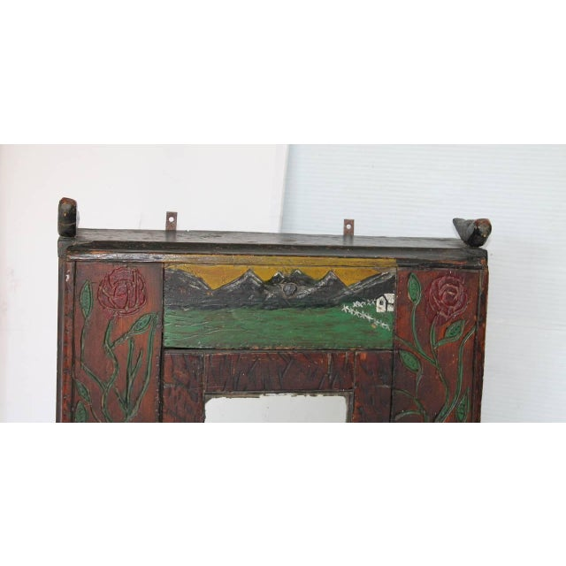 19th Century Hand-Carved and Painted Folk Art Hanging Wall Cabinet For Sale In Los Angeles - Image 6 of 10