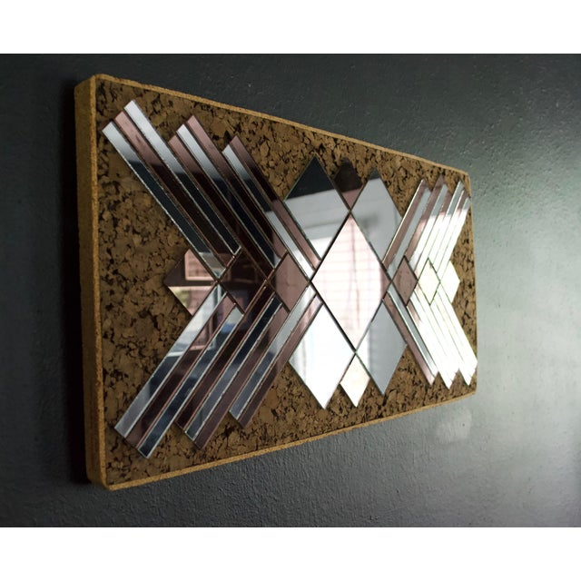 Boho Chic 1970s Mirrored Rose & Silver Cork Wall Art For Sale - Image 3 of 7