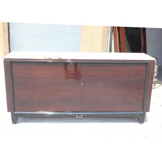 Art Deco 1940s Maurice Rinck French Art Deco Marble Top Macassar Ebony Sideboard / Bar For Sale - Image 3 of 10