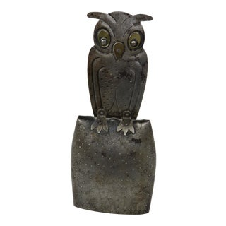 1910's Antique Arts & Crafts Wrought Iron Owl Bell For Sale