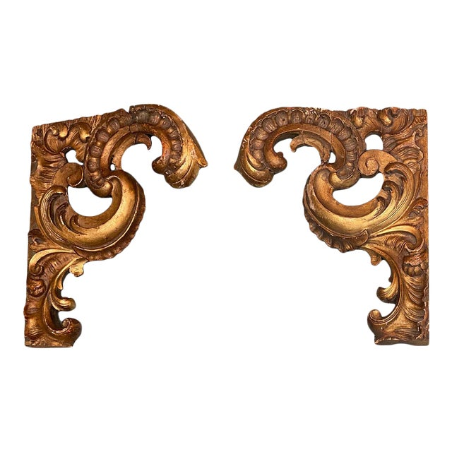 Gilt Carvings - a Pair For Sale