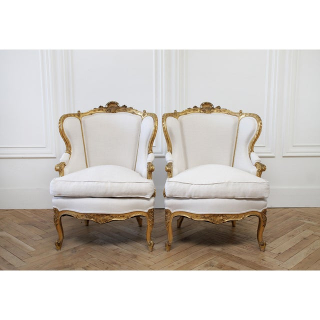 Pair of Antique Giltwood Linen Upholstered Bergère Chairs For Sale - Image 13 of 13