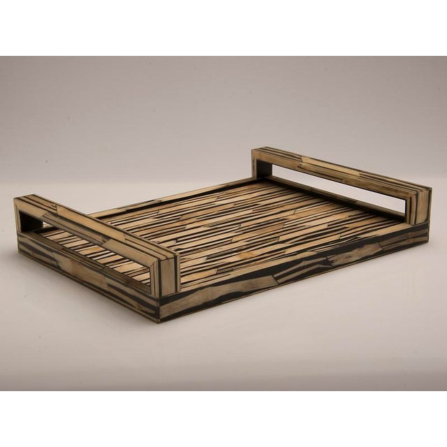 Malaysian Modern Bamboo Inlaid Serving Tray with Handles.