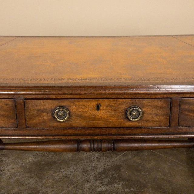 19th Century English Mahogany Leather Top Desk For Sale - Image 11 of 13