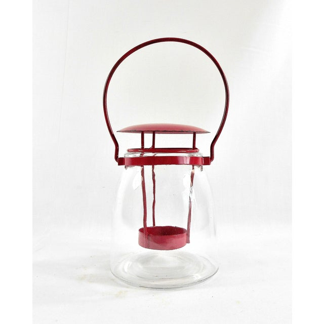 2010s Boho Chic Round Red Metal Clear Glass Candle Lantern For Sale - Image 5 of 6