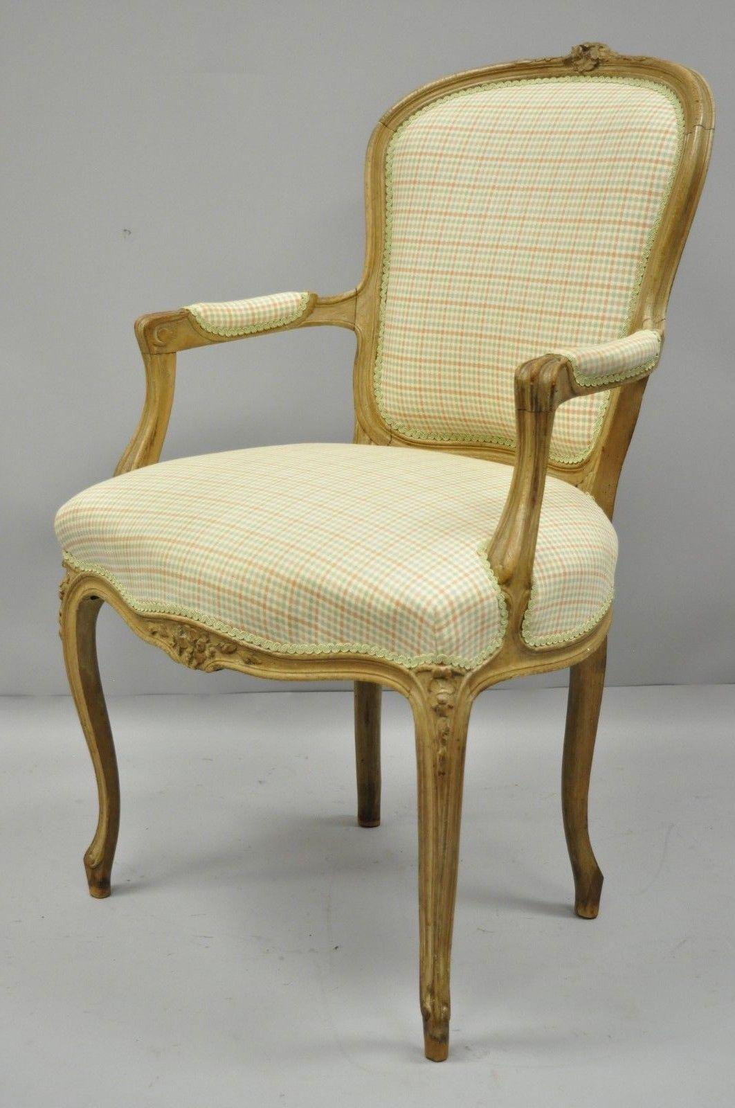 French Country Louis XV Style Armchair Fauteuil Carved Wood Chair B For  Sale   Image 10