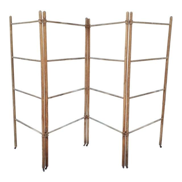Wood & Metal Folding Rack or Screen - Image 1 of 7