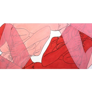 """Hilary Bond """"Red + Pink Kate"""" Contemporary Painting For Sale"""