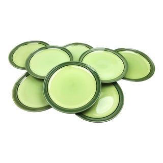 Mid-Century Green Stoneware Plates - Set of 8