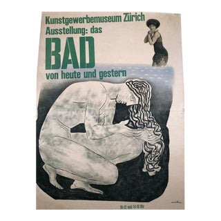 Herbert Matter Swiss Exhibition Poster on the History of Bathing and Swimming For Sale